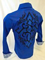 MENS VICTORIOUS Cross Tribal Button Down Dress Shirt Stone BLUE Roar W Style 239