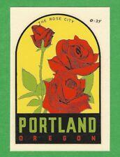 "VINTAGE ORIGINAL 1948 SOUVENIR ""THE ROSE CITY"" PORTLAND OREGON TRAVEL DECAL ART"