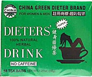 China Green Dieters Tea Dieter's Drink by Uncle Lee's Tea, 18 piece