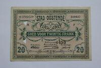 BANKNOTE BELGIUM 20 FRANCS 1916 OOSTENDE B21 BEL63