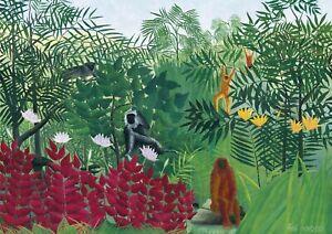 Henri Rousseau - Tropical Forest -  A3 size Canvas Art Print Poster Unframed