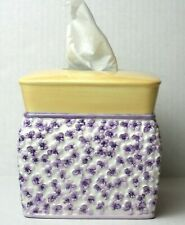 Waverly Field of Flowers Tissue Box Cover Ceramic Violets Purple Yellow 6 x 6