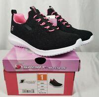 S ~Sport by Skechers -Ada-Girls Sneakers - Black/Pink Shiny Glitter NIB Size 1