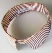 """Detachable striped shirt collars 16.5"""" red and white colour vintage 1940s 1950s"""