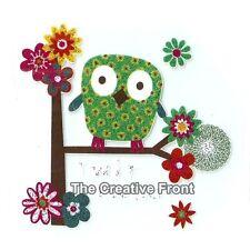 Cute Patch Green Owl - DIY Iron On Glitter T-Shirt Heat Transfer - NEW