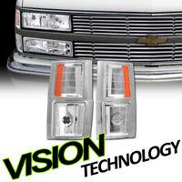 For 94-00 Chevy C10 CK C/K Pickup Truck Chrome Amber Parking Corner Lights Lamps