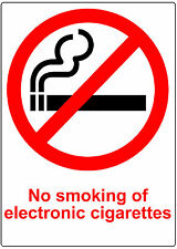 2 TRANSPARENT PLASTIC No Smoking Electronic Cigarettes Signs.Waterproof No ecig