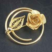 Vintage Signed Sarah Coventry Gold Tone Textured Filigree Rose Flower Brooch Pin