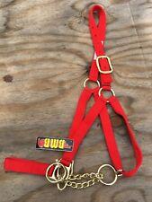 Bmb red nylon cow control halter w/ chain