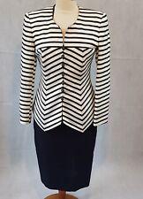 Louis Feraud Ladies Suit Black/White  Striped Jacket Plain Navy Skirt UK12