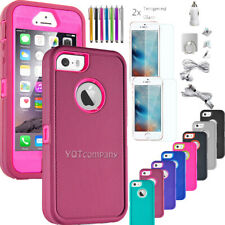For iPhone 5 5s SE 5C Case Heavy Duty Shockproof Rubber Cover Screen Protector