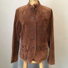 Liz Claiborne Women's Brown Suede Jacket Size L Button Front Banded Collar
