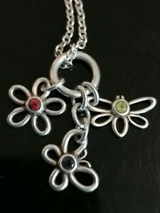 Tiffany Dragonfly Butterfly Flower Silver and Gemstone Pendant Necklace