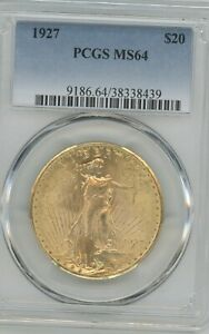 1927 GOLD DOUBLE EAGLE,  GRADED MS64 BY PCGS  $20 GOLD COIN,  SAINT-GAUDENS