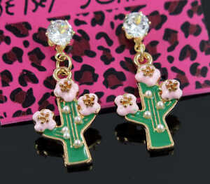 New Betsey Johnson Charm fashion white Crystal cactus Jewelry earrings gift