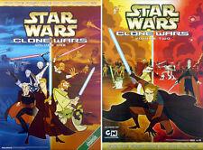 STAR WARS: CLONE WARS (2005) SET OF 2 ORIGINAL DVD MOVIE POSTERS  -  ROLLED