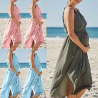 Women Mom Pregnant Maternity Chiffon Sleeveless Dress Beach Split Solid Sundress
