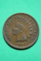 1907 Indian Head Cent Penny Exact Coin Shown Flat Rate Shipping OCE 107