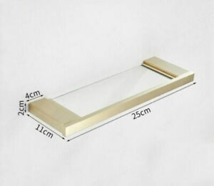 New Wall Mounted Bathroom Stainless Steel+Glass Brushed Gold Shelf Single Layer