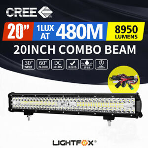 20Inch CREE LED Light Bar Tri Row Spot Flood Combo Offroad Work Driving 4WD