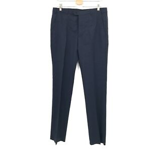 "NEW Emporio Armani M line tonal plaid navy blue un-hemmed pants wool 50 35.5"" W"