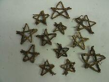 "Lot of 12 Mini Grapevine Twig Star Wreaths - 1-2"" Primitive Rustic craft supply"