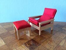 Sessel Hocker Lundby 60er Puppenstube Puppenhaus 1:18 dollhouse armchair stool