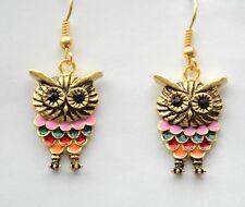Owl Theme Earrings / Gold-tone Dangling Fish-Hook