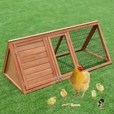 "50"" Wooden Triangle Rabbit Hutch Chicken Coop Hen House Running Outdoor"