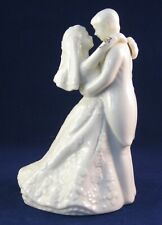Porcelain Wedding Topper Bride & Groom- Soft-White with Gold Trim -Unknown Maker