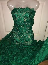 "5 MTR FOREST GREEN SCALLOPED BRIDAL EMBROIDED LACE NET FABRIC...52"" WIDE £44.99"