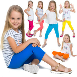 Children Cropped Leggings Comfy Colorful Cotton Capri Kids 3/4 Pants Age 2-13