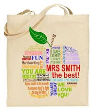 PERSONALISED Thank You Teacher School Gift Cotton Tote Bag - Apple word cloud  2