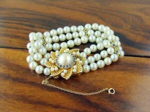 Breathtaking Antique 14K Yellow Gold 3-Strand Pearl & Sapphire Bracelet