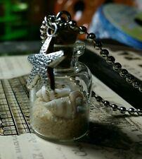 Beach shell glass bottle pendant sea star charm necklace surf wave aloha shore
