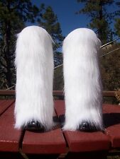 NEW LegVogue White Fox Faux Fur Leg Muffs boot-covers warmers leggings fake NWT