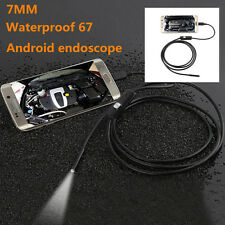 OTG 7mm USB Endoscope Inspection Camera Borescope 2m Waterproof 6 LED Android