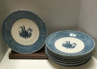 Currier and Ives Vintage Royal Blue & White Steamboat Saucers LOT OF 9