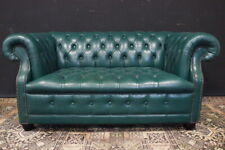 Bel divano Chesterfield Chester inglese 2 posti verde smeraldo / pelle / leather