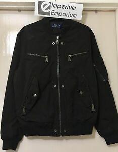 Men's Polo Ralph Lauren Water Repellent Para Bomber Jacket Coat Black Size M