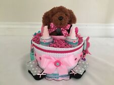 Girl's Puppy -in-a Bed Diaper Cake