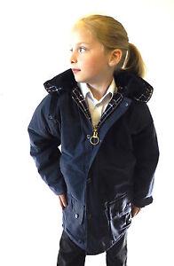 New Wax Jacket Navy Kids Cotton Padded Coat Age 4 5 6 7 8 9 10 11 12 13 14 15