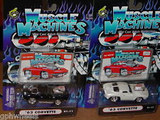 Muscle Machines 2001 '63 1963 Corvette Set In Black & White, Great for Weddings!