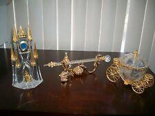 Lot 3 Franklin Mint Disney Cinderella Crystal -Clock -WandCoach Retired RARE HTF