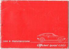 LIBRETTO USO E MANUTENZIONE ALFA ROMEO ALFASUD SPRINT 1.3/1.5 - EDIZ. 1978
