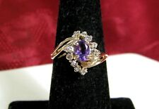 14K YELLOW GOLD OVAL AMETHYST AND DIAMONDS COCKTAIL STYLE RING SIZE 6.25