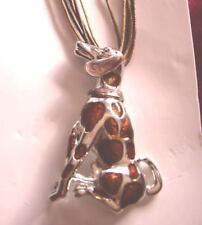 COLLIER cordon grand  PENDENTIF CHIEN dalmatien émaillé dalmatian DOG  brun