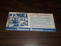WORLD WAR II DON'T WASTE TRANSPORTATION INK BLOTTER ASSOC. OF AMERICAN RAILROADS