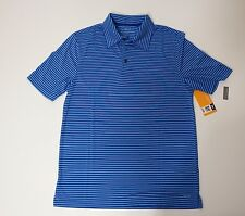 Men Short Sleeve Athletic Golf Shirt Duo Dry Champion Small Blue Stripes