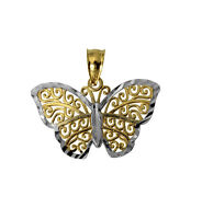 14K Yellow and White 2 Two Tone Gold Butterfly Charm Pendant